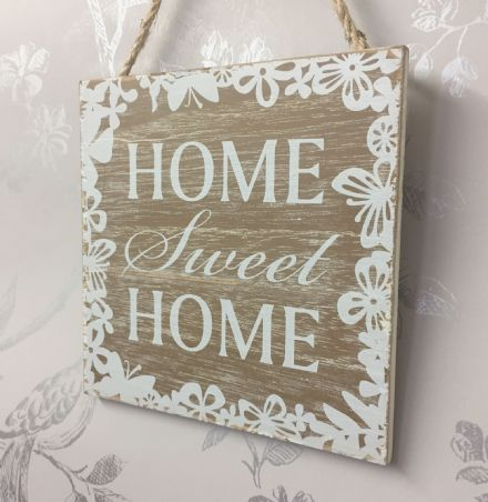 Home Sweet Home Wooden Wall Hanging Sign ~ Butterfly & Flower Border